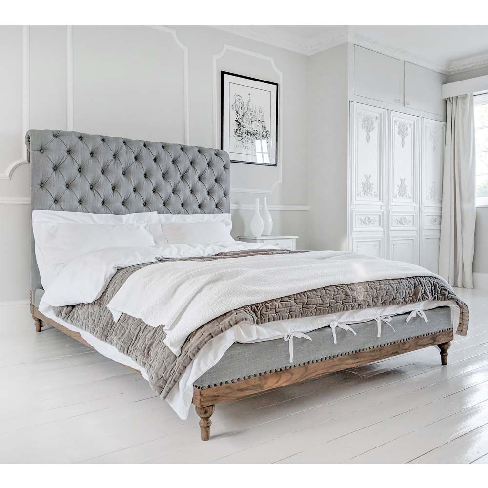French Chesterfield Bed Low Footboard King Upholstered Bed In