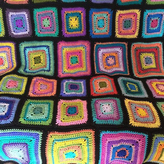 Crochet afghan kaleidoscope blanket rainbow blanket, art deco ...