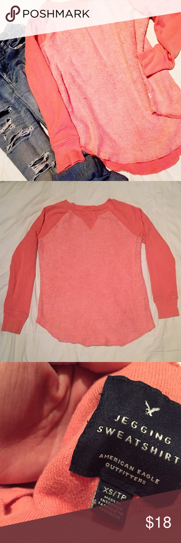 American Eagle Salmon Jegging Sweater Slightly oversized and comfortable. Beautiful salmon color. Pairs perfectly with jeans or leggings. Size XS, but fits like S. American Eagle Outfitters Sweaters Crew & Scoop Necks