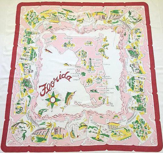 Vintage Florida tablecloth 1950s pink flamingos by 3floridagirls