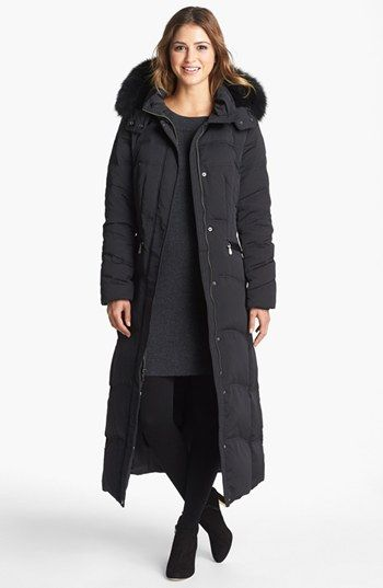 new black COLE HAAN quilted PUFFER feather down full length funnel ...