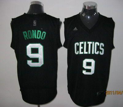 c67d960f1 Adidas NBA Boston Celtics 9 Rajon Rondo Swingman Black Jersey