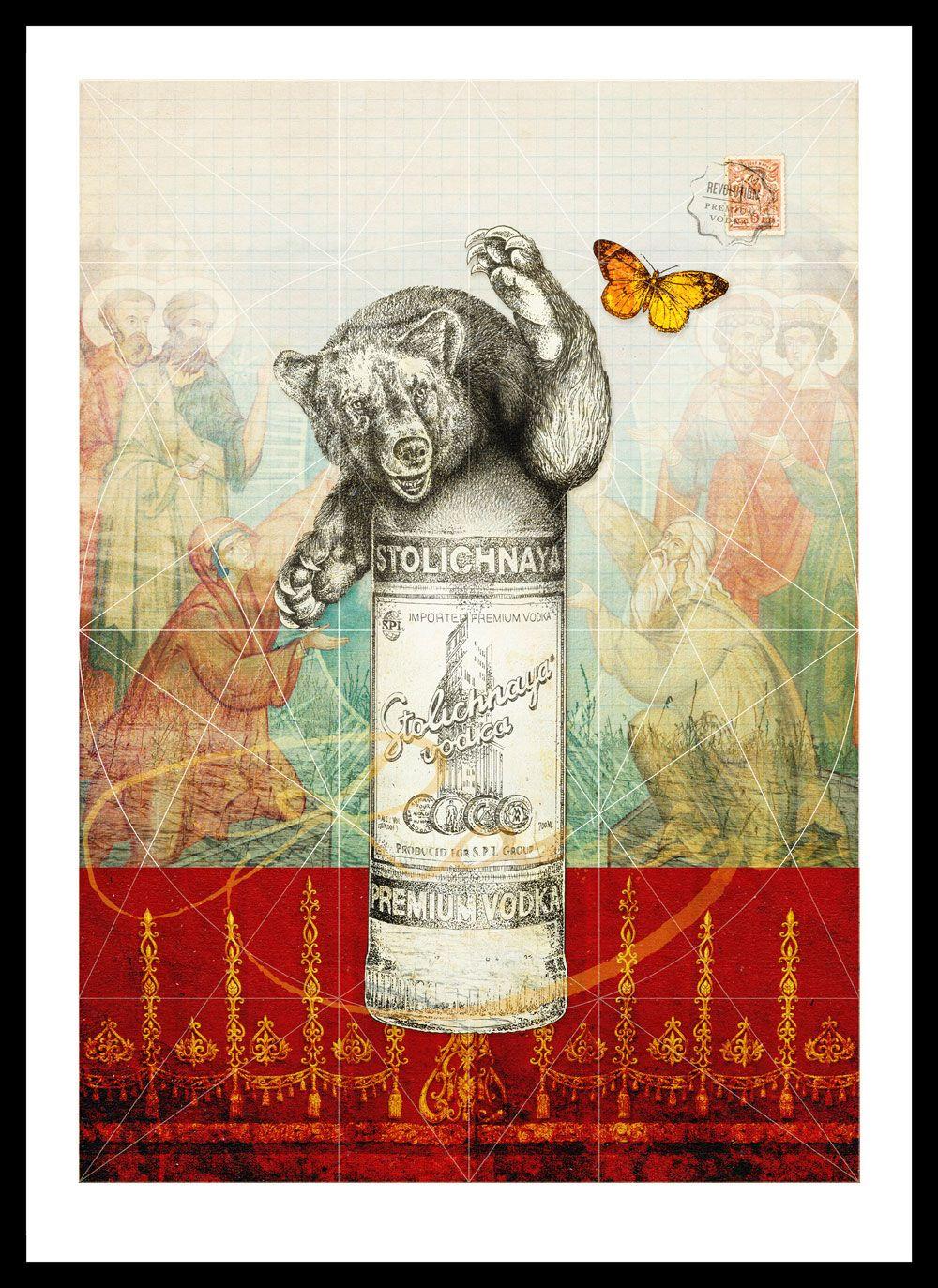 No.3: Stolichnaya Vodka, Russia.  Part of a series of illustrations for Revolution Vodka Bars demonstrating the provenance of their range of Premium Vodka's.
