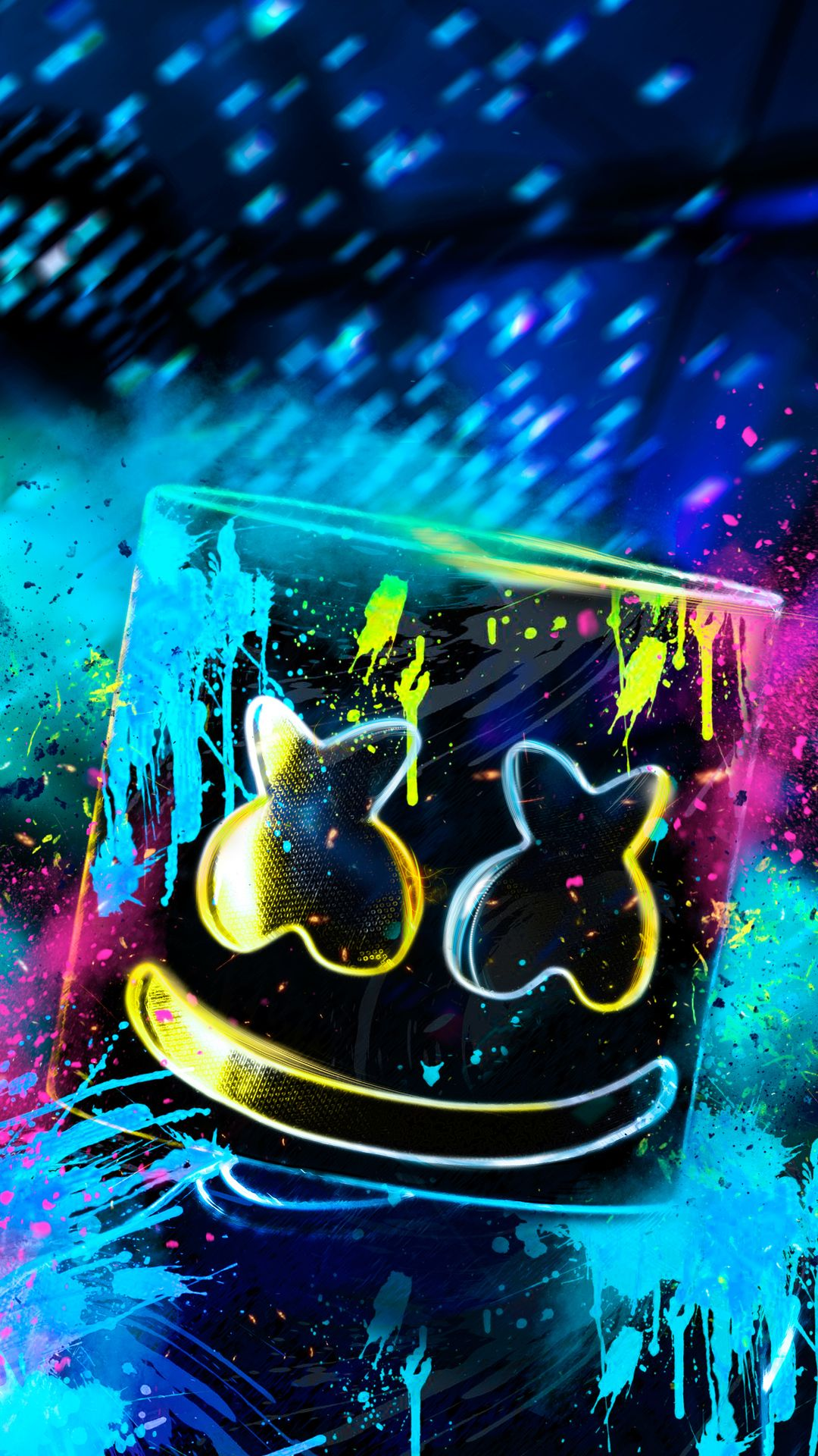 Neon Marshmello In 1080x1920 Resolution Neon Wallpaper Graffiti Wallpaper Hypebeast Wallpaper