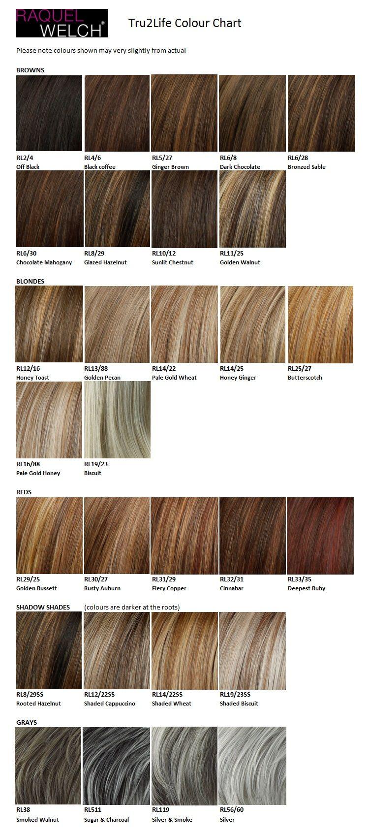 Raquel Welch Tru2life Colour Chart Hair Levels Wigs Grey Blonde