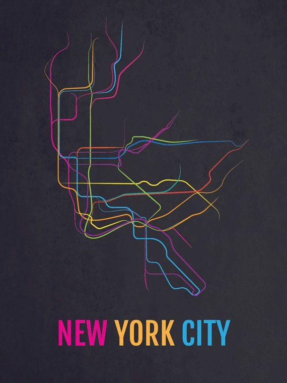 Nyc Subway Map Dark.Nyc Print New York City Subway Transit Map Poster Boyfriend