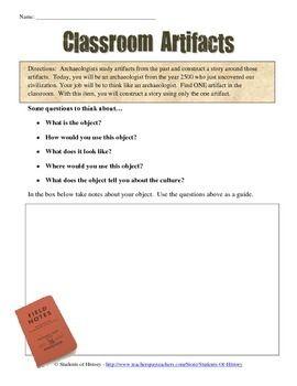 Archaeologist Classroom Artifact Worksheet   Social studies ...