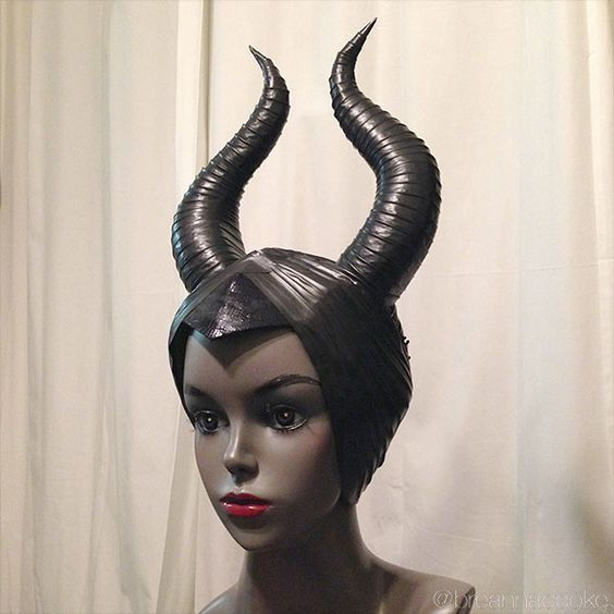 Breanna Cooke Maleficent horns DIY with craft foam and electrical tape