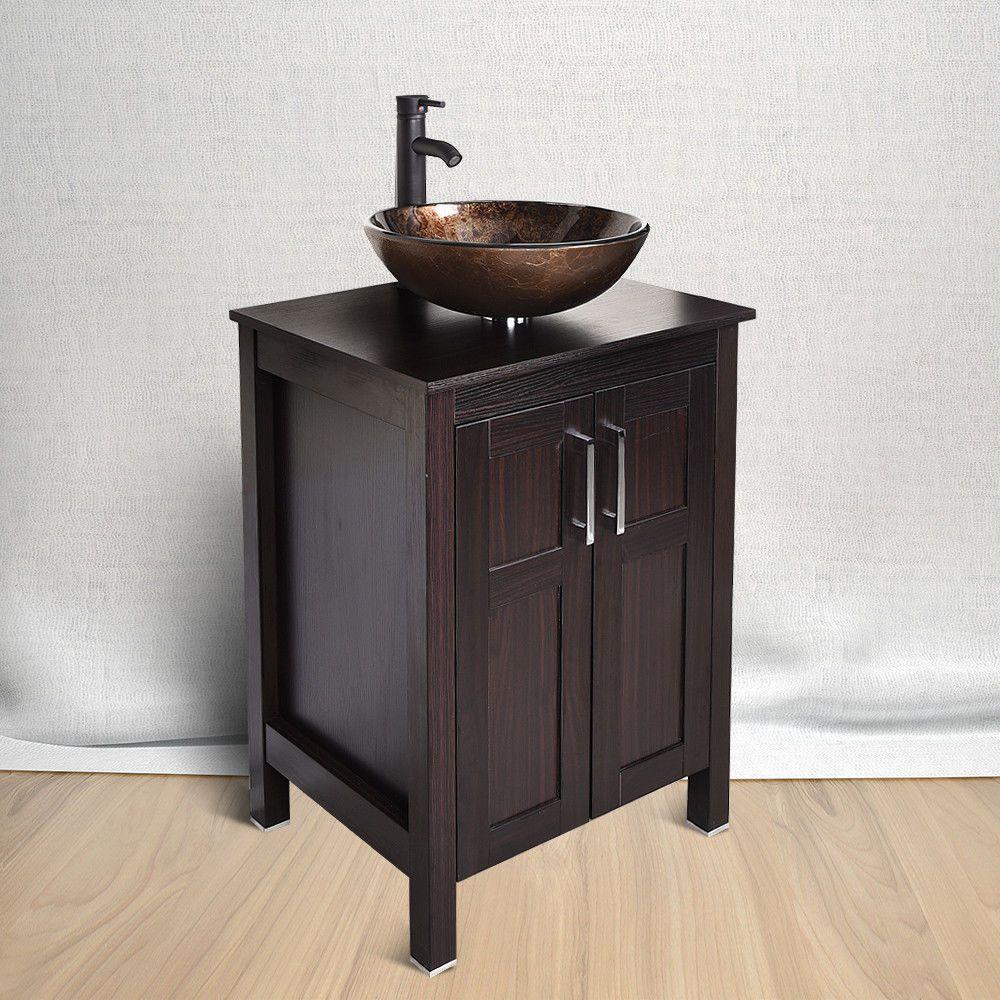 24 Bathroom Vanity Solid Cabinet Single Glass Vessel Sink Faucet