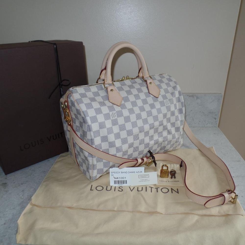 e7a6be53fd1c NEW 2013 Louis Vuitton FRANCE Damier Azur Speedy 30 STRAP Bandouliere Bag   1450
