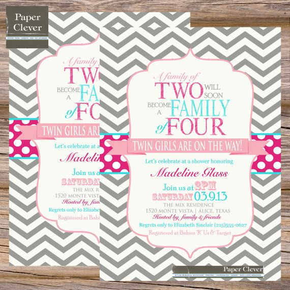 twins baby shower invitation family of four chevron by paperclever, Baby shower invitation