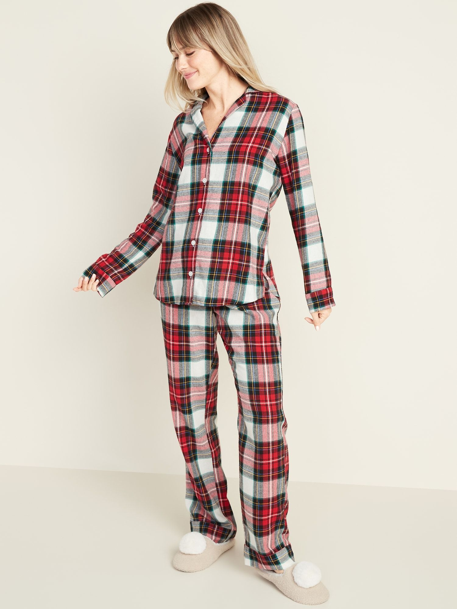 Patterned Flannel Pajama Set for Women Pajamas women