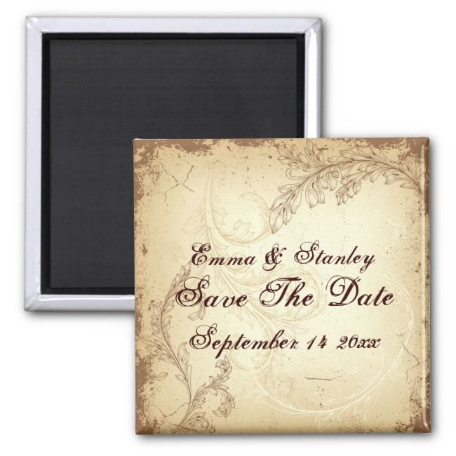 Beige brown vintage scroll leaf Save the Date Magnet