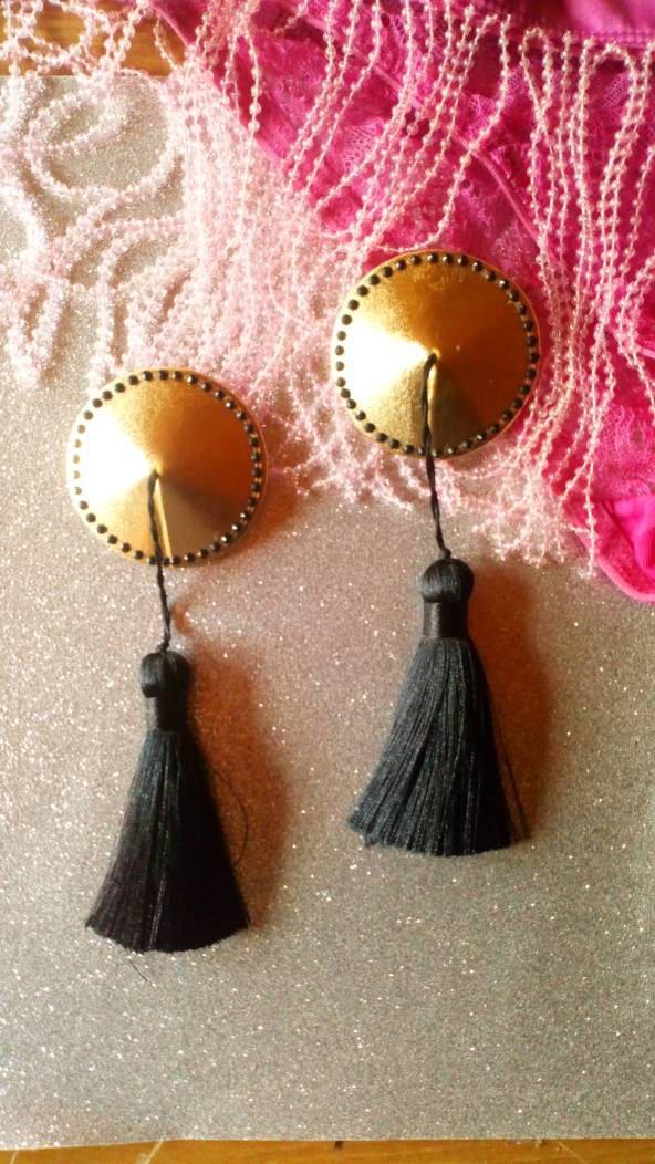 Stripper gold tassels