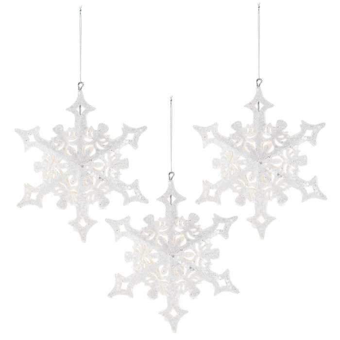 White Glitter Paper Snowflake Ornaments