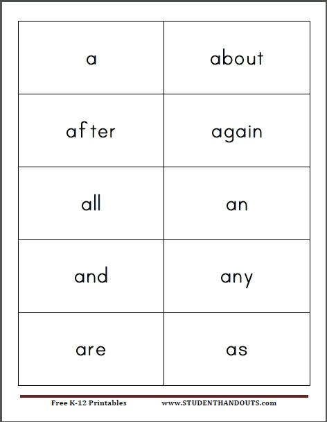 I made these sight word flash cards for Alex He can already read - flash card template