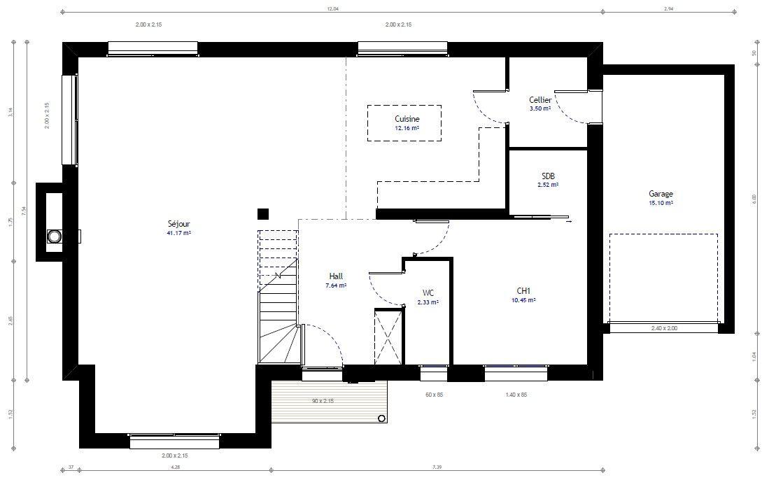 Plan 1de la maison individuelle Résidence Picarde 60 Architecture