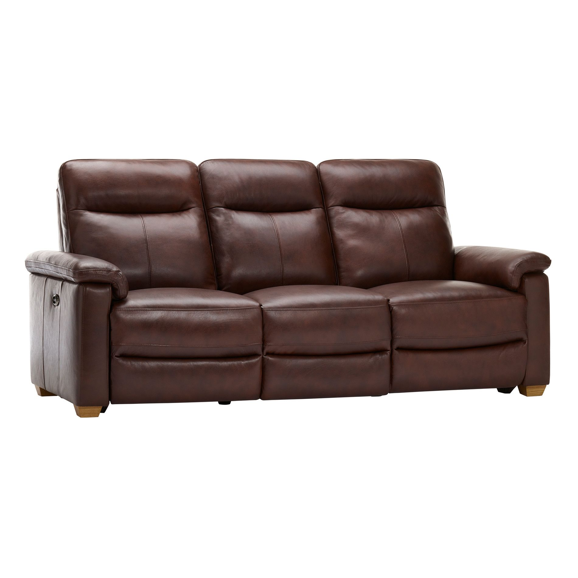 Malmo 3 Seater Sofa With 2 Electric Recliners 2 Tone Brown Leather Electric Recliners Brown Leather Recliner Recliner