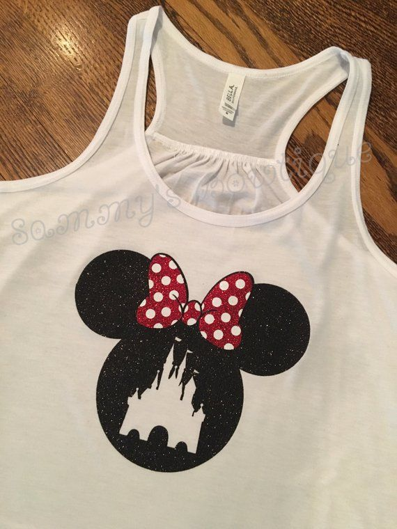 1bb72ec7a92bb Minnie Mouse Head with Castle Tank Top! Womens