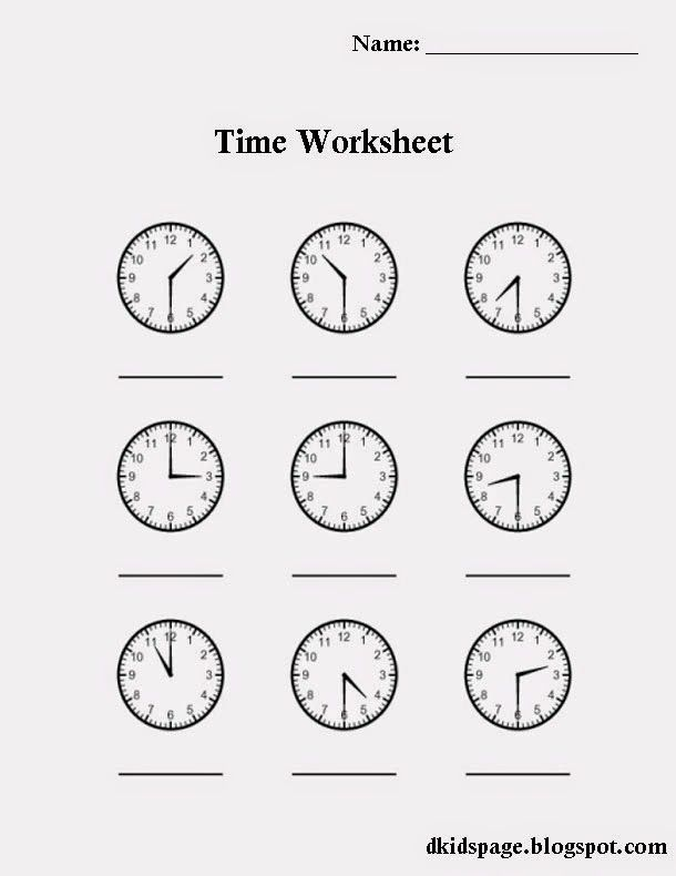 Download Printable Time Worksheet For Kids  Worksheets