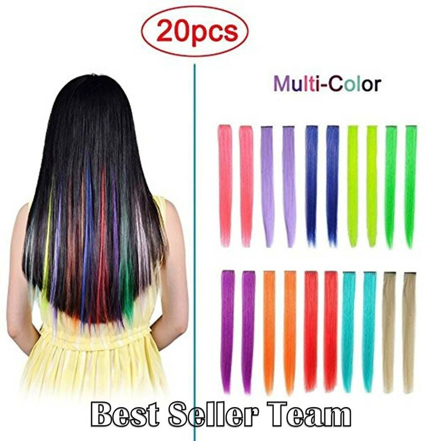 20pcs Straight Clipin Colored Hair Extensions For Party Highlight Hair Accessory Colored Hair Extensions Hair Color Streaks Kids Hair Color