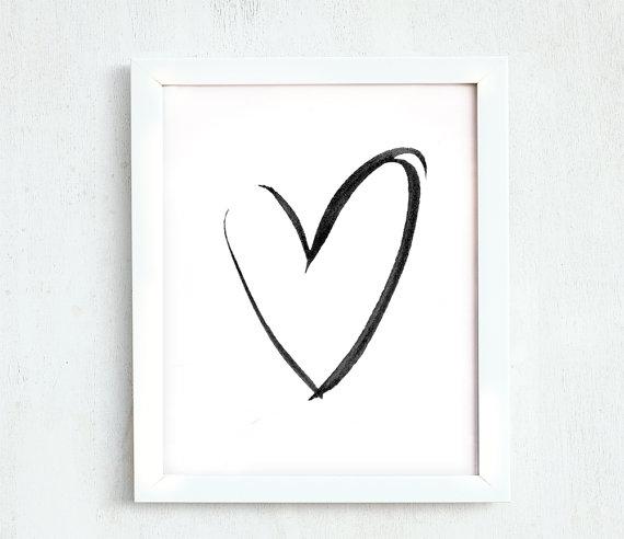 Ink Heart Printable Hearts Minimalist Black White Simple - Minimalist art ideas