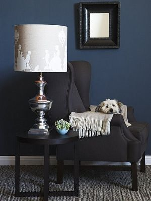 navy blue walls with grey carpets would need to be a very light
