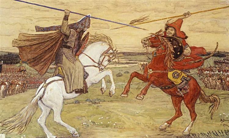 Duel Peresvet With Chelubey 1914 By Viktor Vasnetsov Romanticism