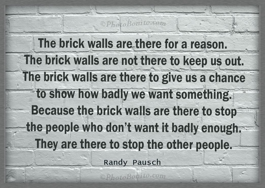 The Brick Walls Are There For A Reason. The Brick