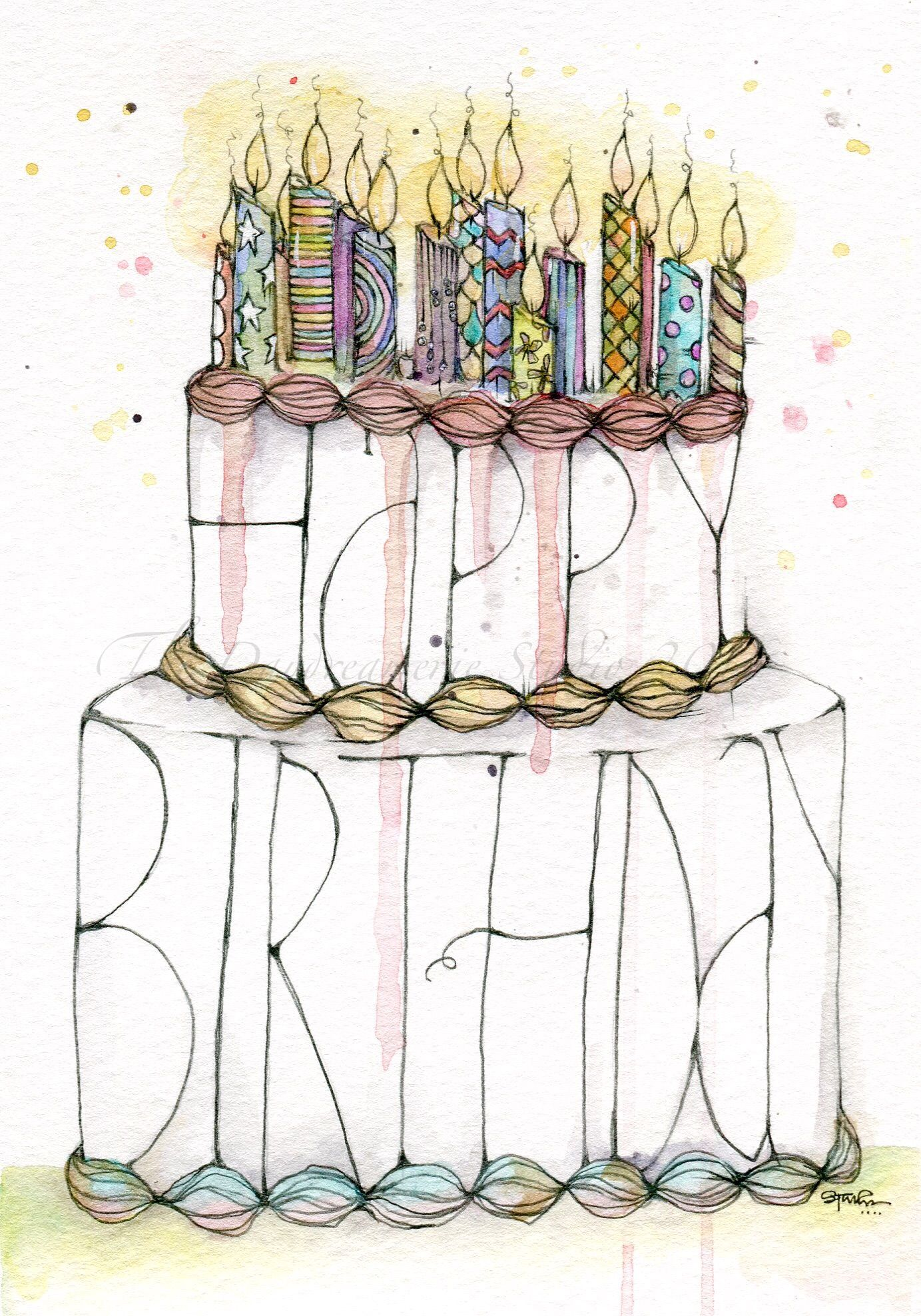 Birthday cakes. Watercolor & pencil. #52 #thedaydreamerie boho candles #lettercakegeburtstag