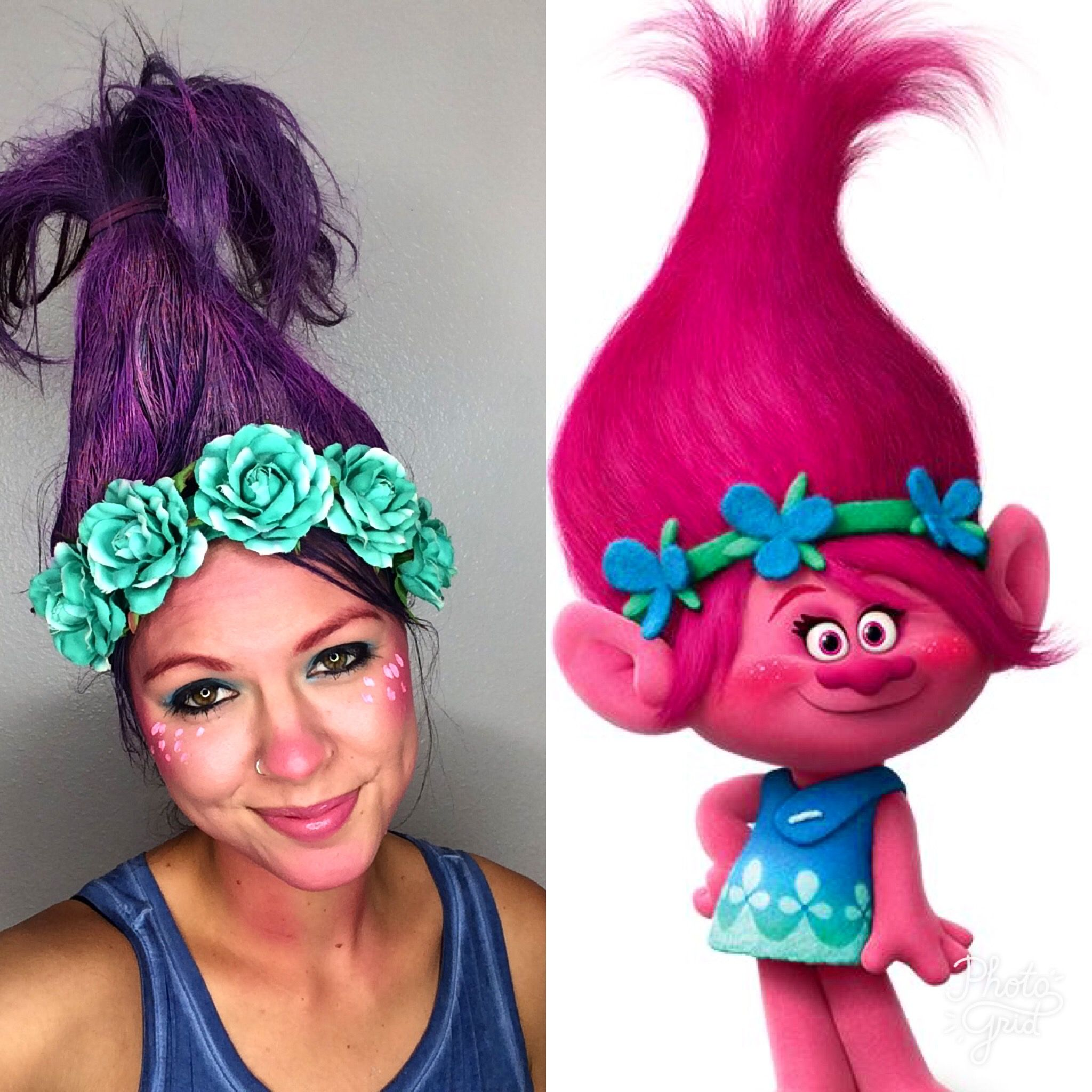 Princess Poppy hair Princess poppy make up Halloween costume ...