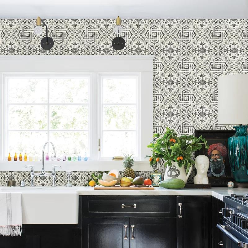 Sonoma Charcoal Spanish Tile Wallpaper Wallpaper For Kitchen Cabinets Kitchen Wallpaper Accent Wall Wallpaper Backsplash Kitchen