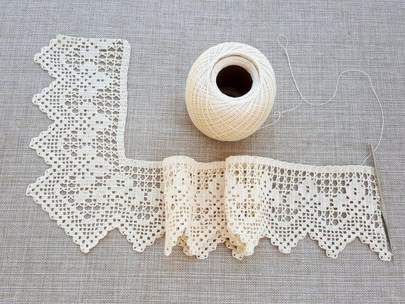 Hand crocheted border filet crochet lace trim linear or #pillowedgingcrochet