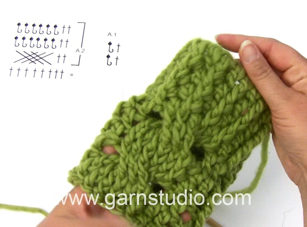 DROPS Crocheting Tutorial: How to work cable with relief stitch on ...