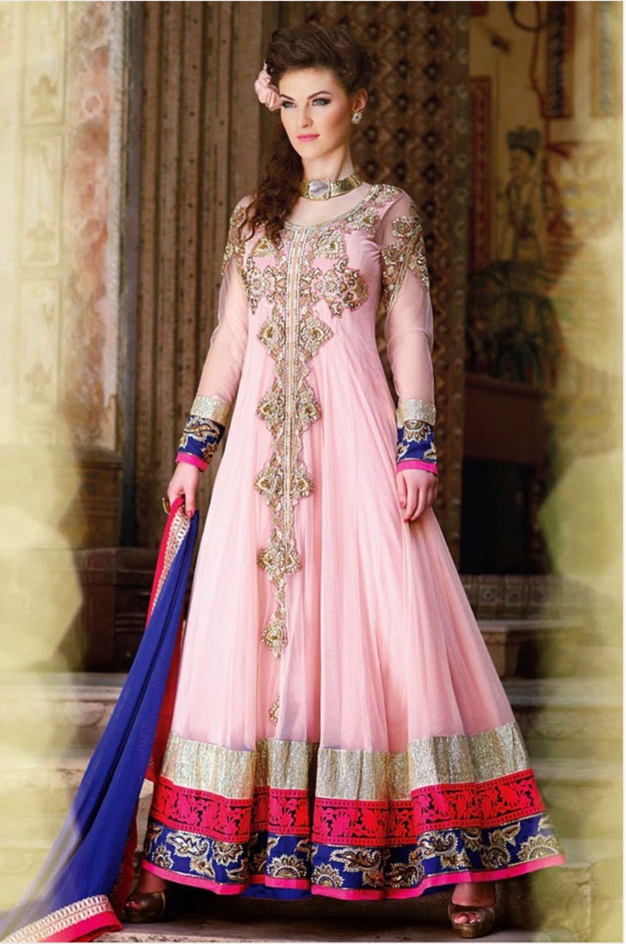 6307037ad8 Beautiful stone work on this pink anarkali suit | Indian Suits ...