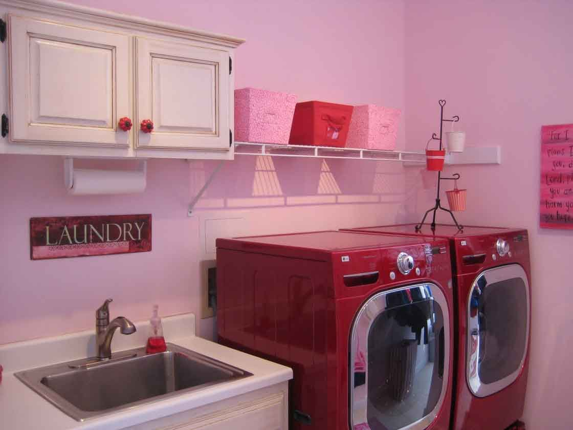 laundy room beautiful pink color theme laundry room with undermount ...