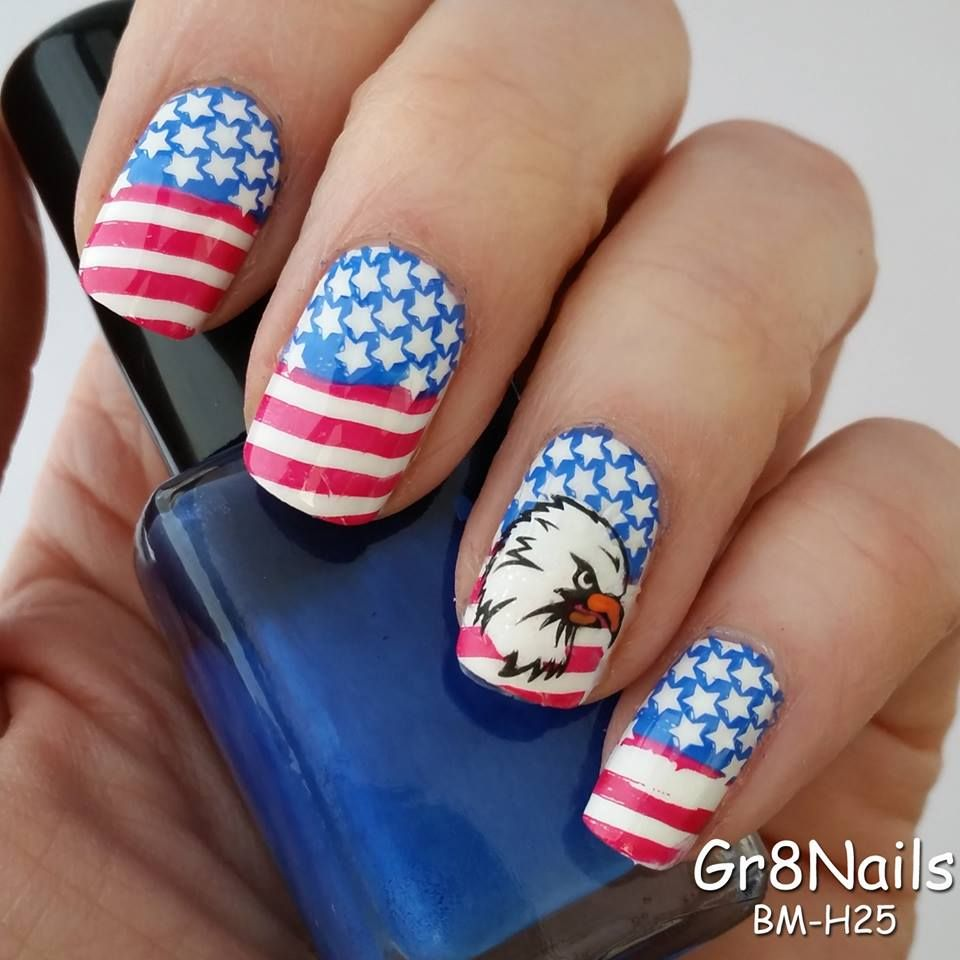 Nail Art Accessories Bd: Proudly Wave The American Flag! Nail Art Created With