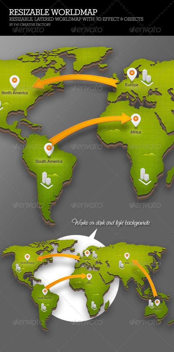 A Completely Layered and Resizable World map with 3D Effect and