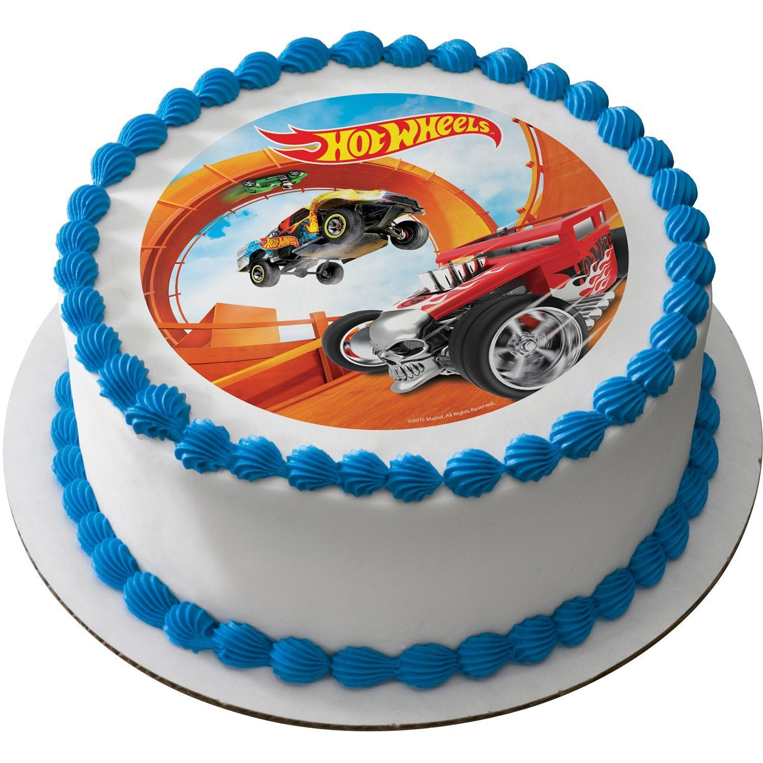 Hot Wheels 7 5 Round Edible Cake Topper Each With Images