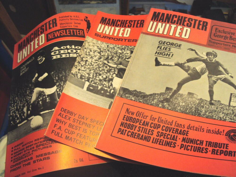 3 X Manchester United Supporters Newsletter Magazine Vol 1 Nos 2 4 5 1968 9 Manchester United Manchester Derby Day