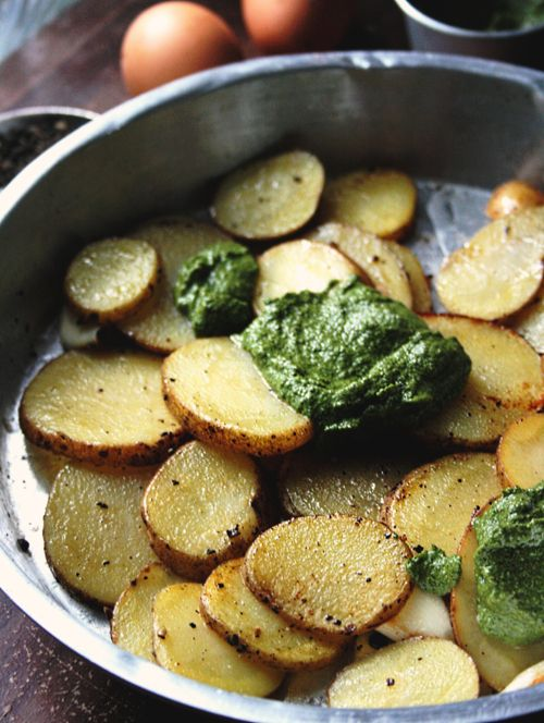 Notions & Notations of a Novice Cook — Making Pesto Potatoes & Eggs