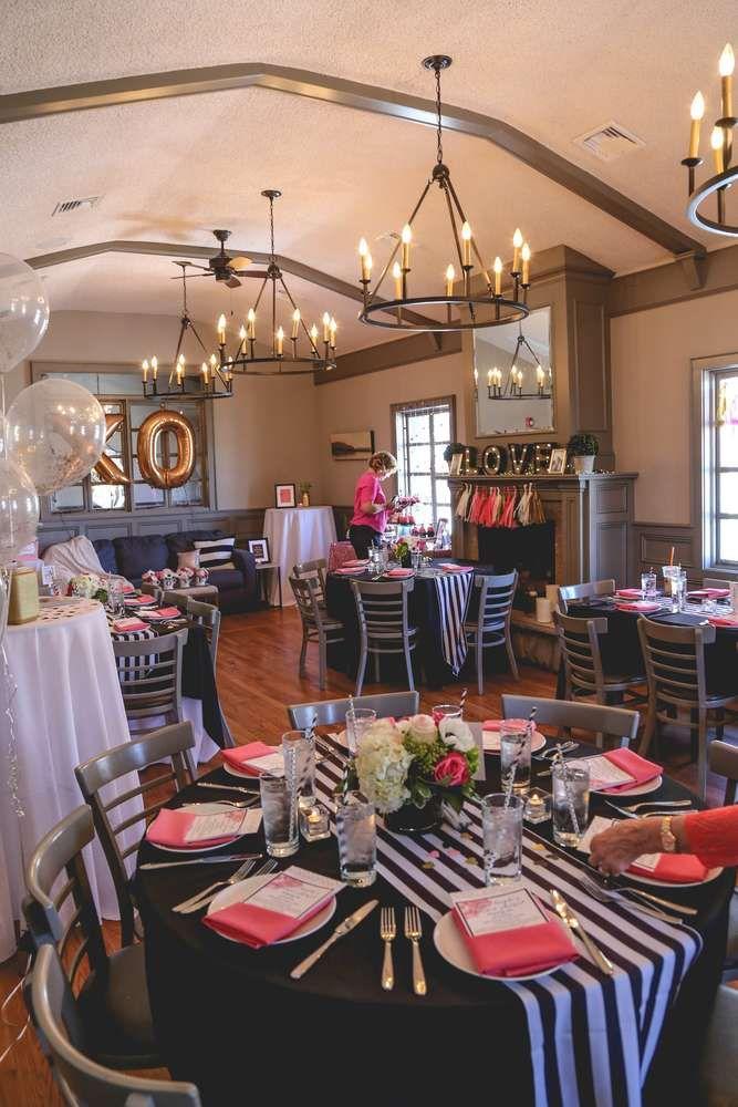 Black White Pink Gold Bridal Wedding Shower Party Ideas