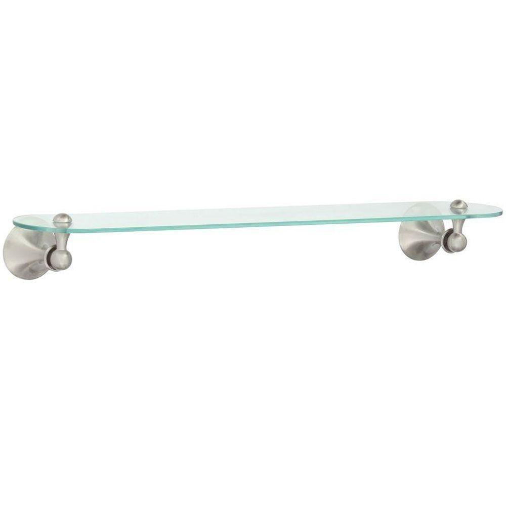MOEN Lounge 24 in. W Glass Bath Shelf in Spot Resist Brushed Nickel ...
