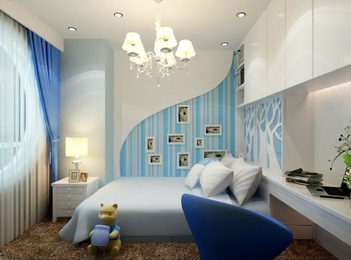 AuBergewohnlich Jugendzimmer Streichen Ideen Wandfarbe  Hellblau Interessante Wohnraumgestaltung