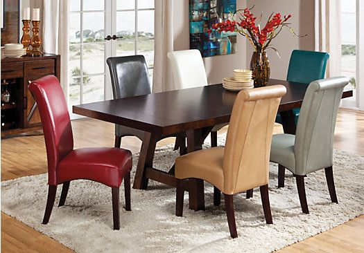 Picture Of Mango Walnut 5 Pc Dining Room W Charcoal Chairs From