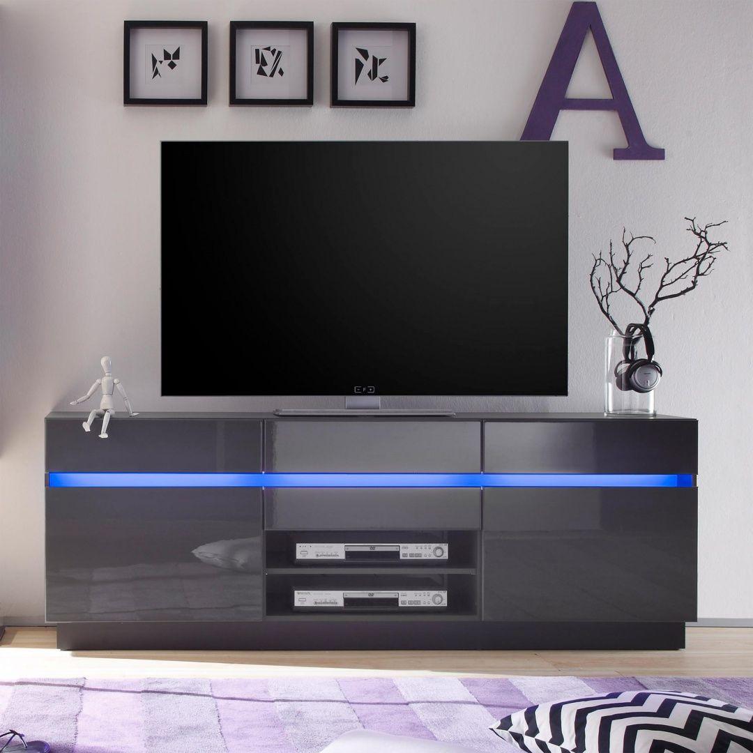 Tv Boards Mit Hochglanz Oder Mattfronten Mit Optionaler Led Beleuchtung Und Verschiedenen Farben Vladon De Tv Mobel Hochglanz Led