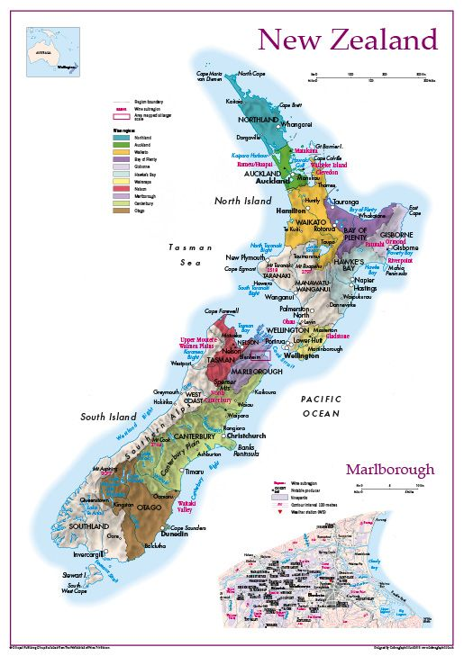 Wine Regions Of New Zealand Map 20 99 Cosmographics Ltd