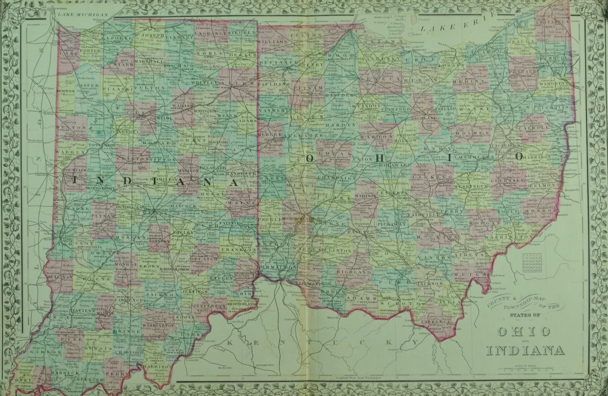1881 County and Township Map of the States of Ohio and