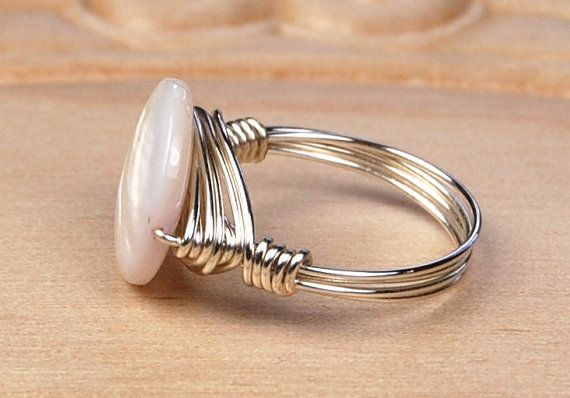 Beautiful wire wrapped Mother of pearl ring