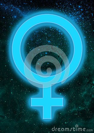 Background With The Astrological Symbol Of Venus Glowing With Light